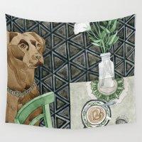 labrador Wall Tapestries featuring Geometry Labrador by Yuliya
