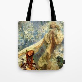 "Alphonse Mucha ""Madonna of the liles"" Tote Bag"