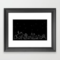 Barcelona skyline at night Framed Art Print