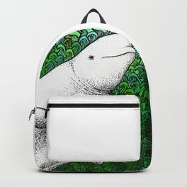 Beautiful beluga whale in the ocean Backpack
