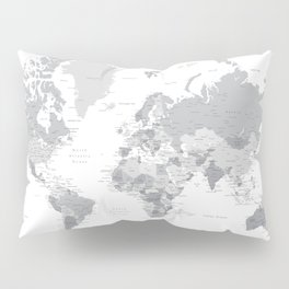 "Gray world map with cities, states and capitals, ""in the city"" Pillow Sham"