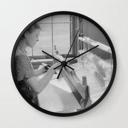 Alice McCarter, weaving a baby blanket Wall Clock