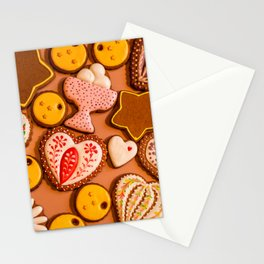 Ginger holiday cookies closeup Stationery Cards