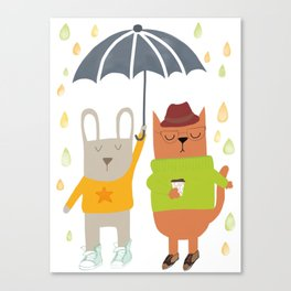 Hipster bunny and cat Canvas Print