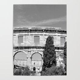 arena amphitheatre pula croatia ancient black white Poster