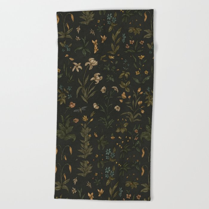 Old World Florals Beach Towel