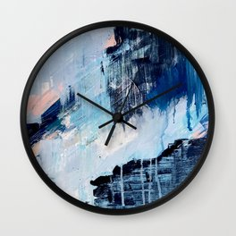 Vibes: an abstract mixed media piece in blues and pinks by Alyssa Hamilton Art Wall Clock