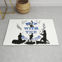 Be Up With The Boards Text And Kitesurfer Vector Rug