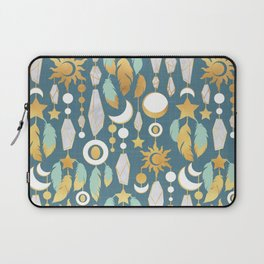 Bohemian spirit // dark turquoise background Laptop Sleeve