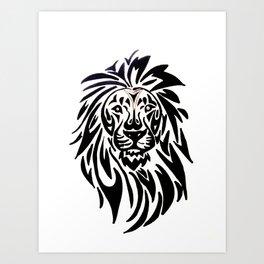 Lion face black and white Art Print