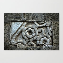 Medieval Carved Stone Wall Canvas Print