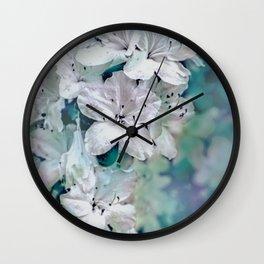 White Azaleas Wall Clock