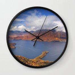 Lake Chuzenji, Japan in autumn from above Wall Clock