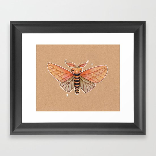 Un-Natural Selection: Carmine Stripee Halloween Moth Framed Art Print