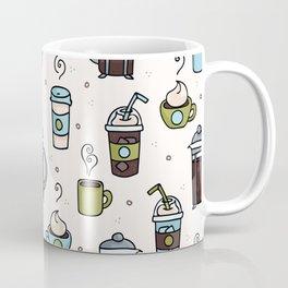 Vector coffee seamless repeat pattern illustration different caffeine drinks Coffee Mug