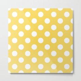 Naples yellow - yellow - White Polka Dots - Pois Pattern Metal Print