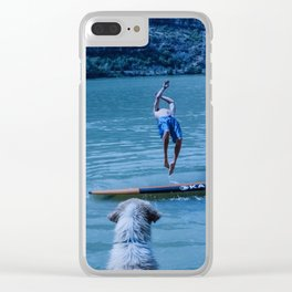 Dog watches master jump in water (Summertime reflections) Clear iPhone Case