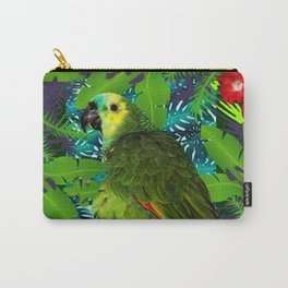 RED HIBISCUS & GREEN PARROT JUNGLE GRAY-GREEN ART Carry-All Pouch