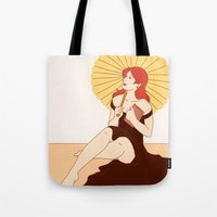 bookworm Tote Bags featuring Bookworm by Eva Duplan Illustrations