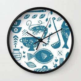 Fish supper textured print pattern Wall Clock