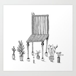 The Chair and the Plants Art Print