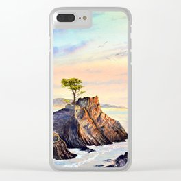 Pebble Beach Lone Cypress Tree Clear iPhone Case
