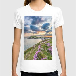 Freshwater Bay Sea Thrift Sunset (V) T-shirt