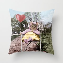 A pretty, little kitty with a heart-shaped balloon Throw Pillow