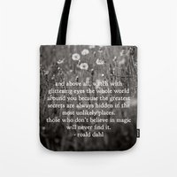 roald dahl Tote Bags featuring roald dahl's magic by lissalaine