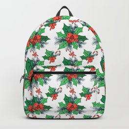 Green red orange Christmas sweet candy holy floral Backpack