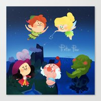 peter pan Canvas Prints featuring Peter Pan by UniverseSunny