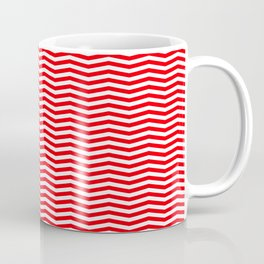 Red and White Christmas Wavy Chevron Stripes Coffee Mug