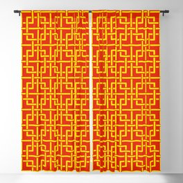 Tangled squares Chinoiserie in Chinese flag's colors Blackout Curtain