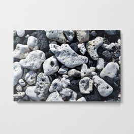 Black and White Rocks Mixed with Lava Rocks in Hawaii Metal Print