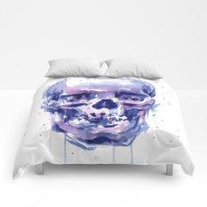 Skull Watercolor Purple Colorful Comforters