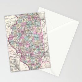Vintage Map of Illinois (1855) Stationery Cards
