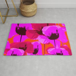 Pink And Red Poppies On A Orange Background - Summer Juicy Color Palette - Retro Mood Rug