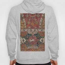 Persian Medallion Rug III // 16th Century Distressed Red Green Blue Flowery Colorful Ornate Pattern Hoody