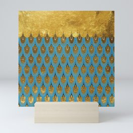 Blue and Gold Mermaid Scales Dreams Mini Art Print