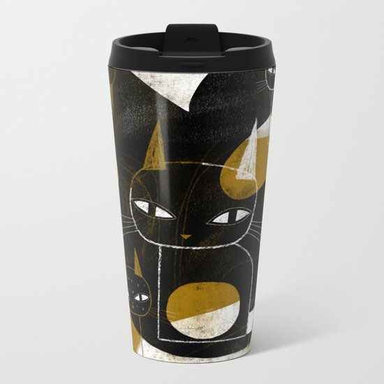 ABSTRACT WITH FIVE CATS Metal Travel Mug