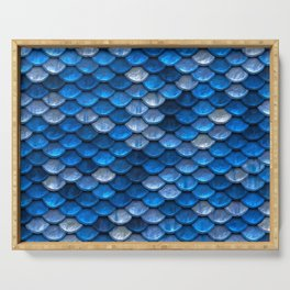 Sparkling Blue Mermaid Scales Serving Tray