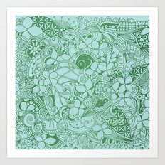 Blue square, green floral doodle, zentangle inspired art pattern Art Print