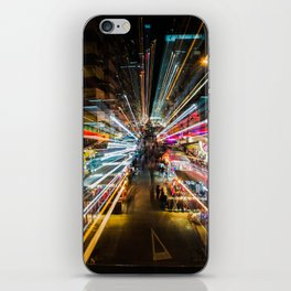 Neon Lights at the Hong Kong Night Market iPhone Skin