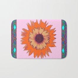 Western Style Chocolate Brown Pink-Orange Sunflower Art Bath Mat