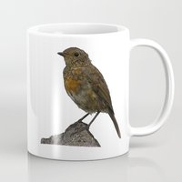 birdy Mugs featuring Birdy by Robin Graham