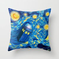 fandom Throw Pillows featuring Blue Phone box Starry the night iPhone 4 4s 5 5c 6, pillow case, mugs and tshirt by Three Second