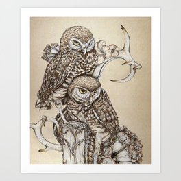 Duality - Two Burrowing Owls Art Print