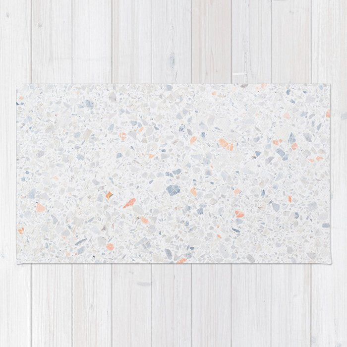 Natural Terrazzo Stone Stucture Pattern Pastel Rug