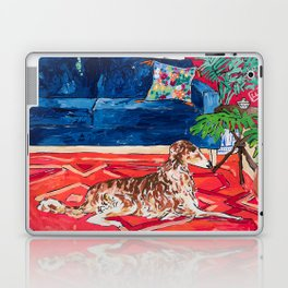 Red Interior with Borzoi Dog and House Plants Painting Laptop & iPad Skin