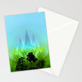 TREES under MAGIC MOUNTAINS V-HF-GREEN Stationery Cards